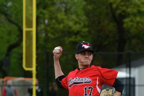 Fairfield Warde High School baseball pitcher #17 Reece Maniscalco hurls against Brien McMahon in their FCIAC baseball game Saturday May 7, 2016, in Norwalk, Conn.