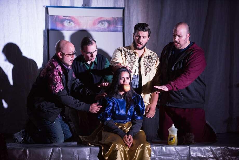 "Boris Van Druff (left), Brian Michael Moore, Teresa Castillo, Andrew G. Manea, and Matthew Anchel in Conrad Susa's ""Transformations."" Photo: Kristen Loken"