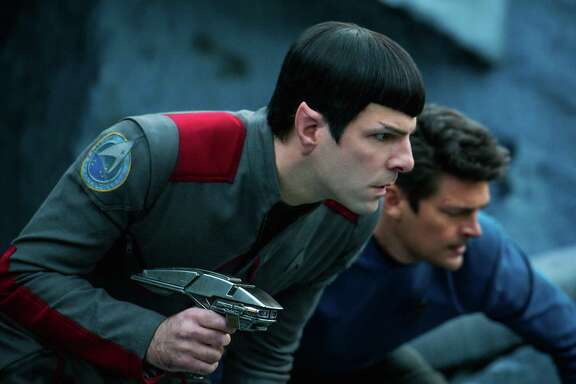 "Zachary Quinto, front, returns as Spock, and Karl Urban stars as Bones in ""Star Trek Beyond."""