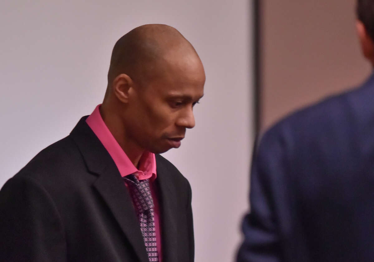 Dominique Green, the defendant in a capital murder trial, enters the courtroom at the start of proceedings Wednesday morning in the 226th State District Court.