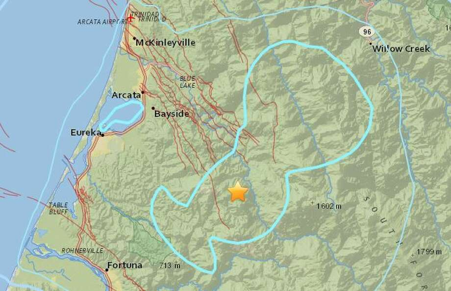 Thursday's quake was reported about 10 miles inland from Humboldt Bay. Photo: USGS