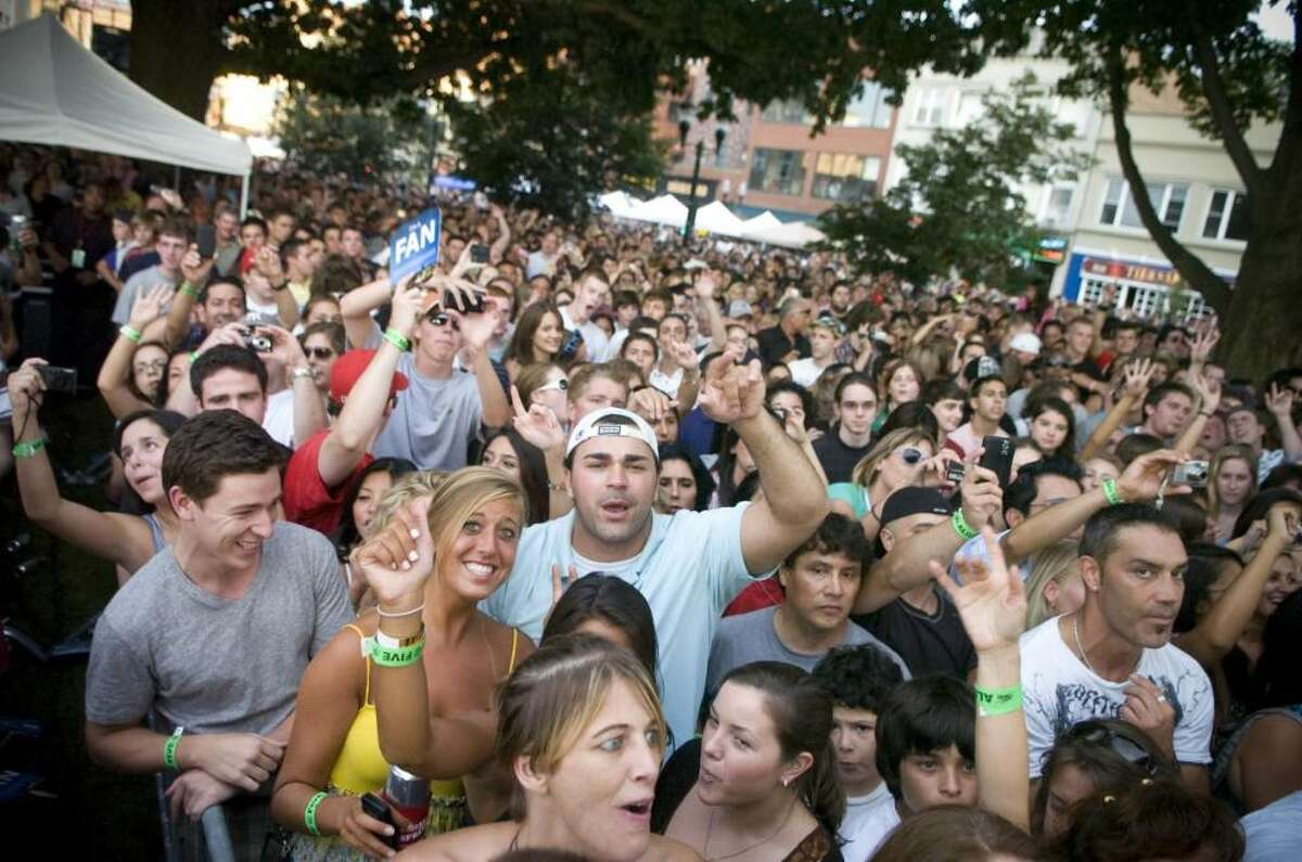 Fans cheer as Mark McGrath and Sugar Ray performs at during Alive@Five in Stamford, Conn. on Thursday, Aug. 6, 2009.