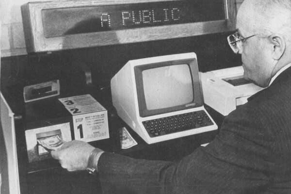 The first public computer terminal, being test marketed at this time in 1983.