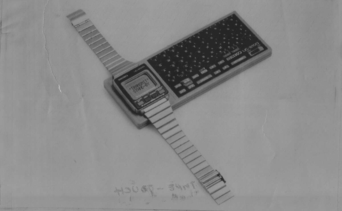 Seiko wristwatch computer We can laugh at this now, but for sheer inventiveness with the available technology, we tip our caps. Decades before the Apple Watch in 1984, Seiko took this embryonic stab at the smartwatch by using a standard calculator that could be used as a keyboard. It could store 2,000 characters, and it retailed for $80.