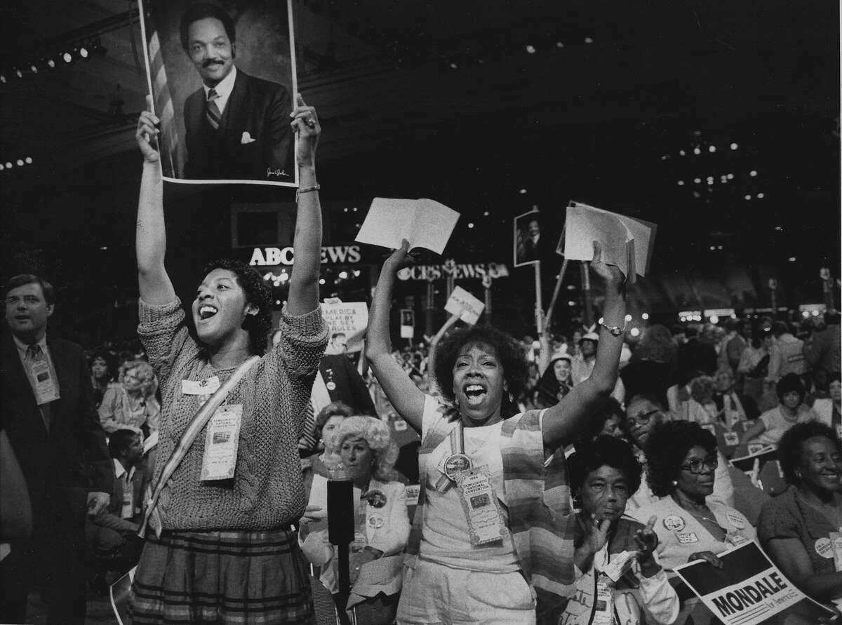 Delegates Lendra Alexander & Gwen Patton for Jesse Jackson at the 1984 Democratic National Convention held at Moscone Center in San Francisco Photo shot 07/16/1984 Photo ran 07/18/1984, p. 11