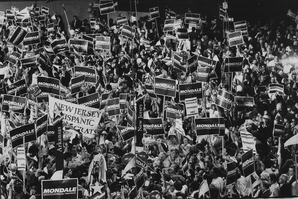 New Jersey delegates put Mondale over the top at the 1984 Democratic National Convention held at Moscone Center in San Francisco Photo ran 07/20/1984, P. 5