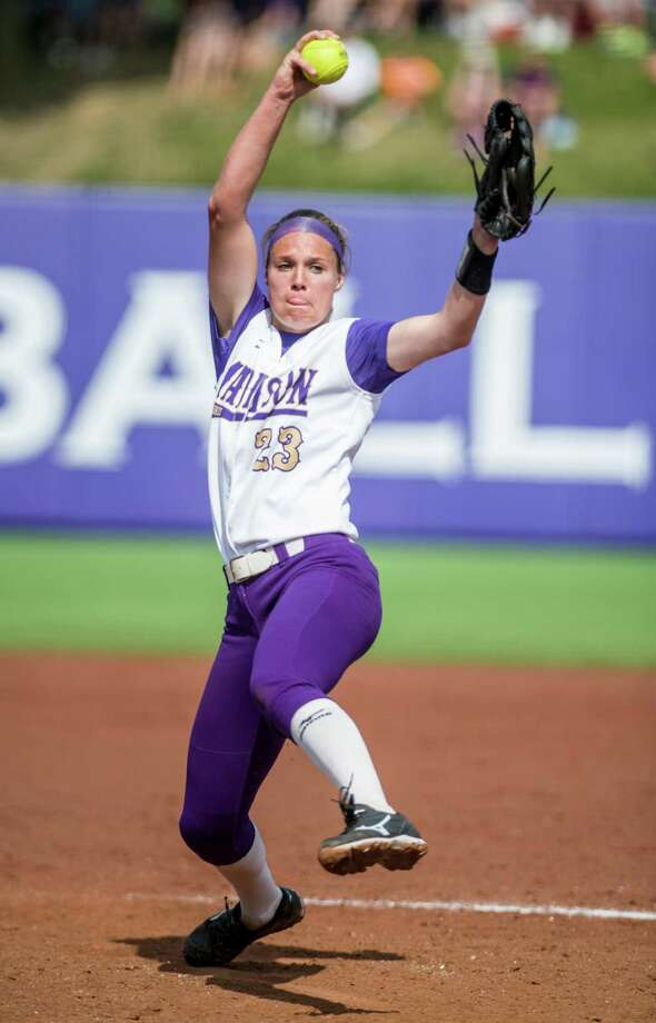 James Madison pitcher Megan Good winds up during the team's NCAA softball tournament super regional against LSU in Harrisonburg, Va., Saturday, May 28, 2016. (Daniel Lin/Daily News-Record via AP) Photo: Daniel Lin / Associated Press / Daily News-Record