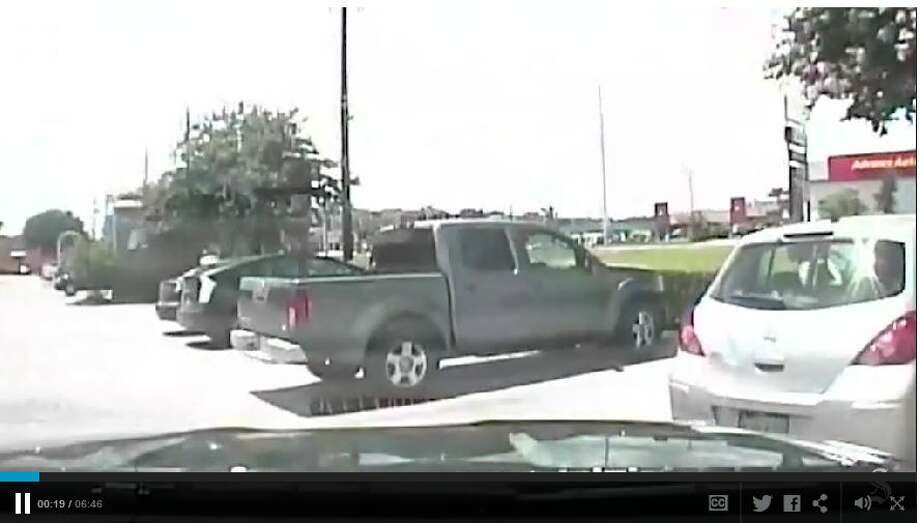 "Patrol car video publicly released Thursday shows a white Austin, Texas,  police officer violently throwing a black woman to the ground during a  traffic stop, followed by another white officer telling her black people  have ""violent tendencies"" and whites are justifiably afraid. Photo: Video Screen Grabs"