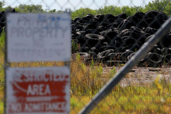 This is just a portion of the millions of tires at the former Safe Tire Disposal Corp. on the 11,000 block of Applewhite Road on the city's South Side. Texas A&M-San Antonio mosquito researcher Megan Wise de Valdez, an associate professor of biology, has been setting mosquito traps in the area of the dump to see if the types of moquitoes there can spread diseases such as the Zika virus.