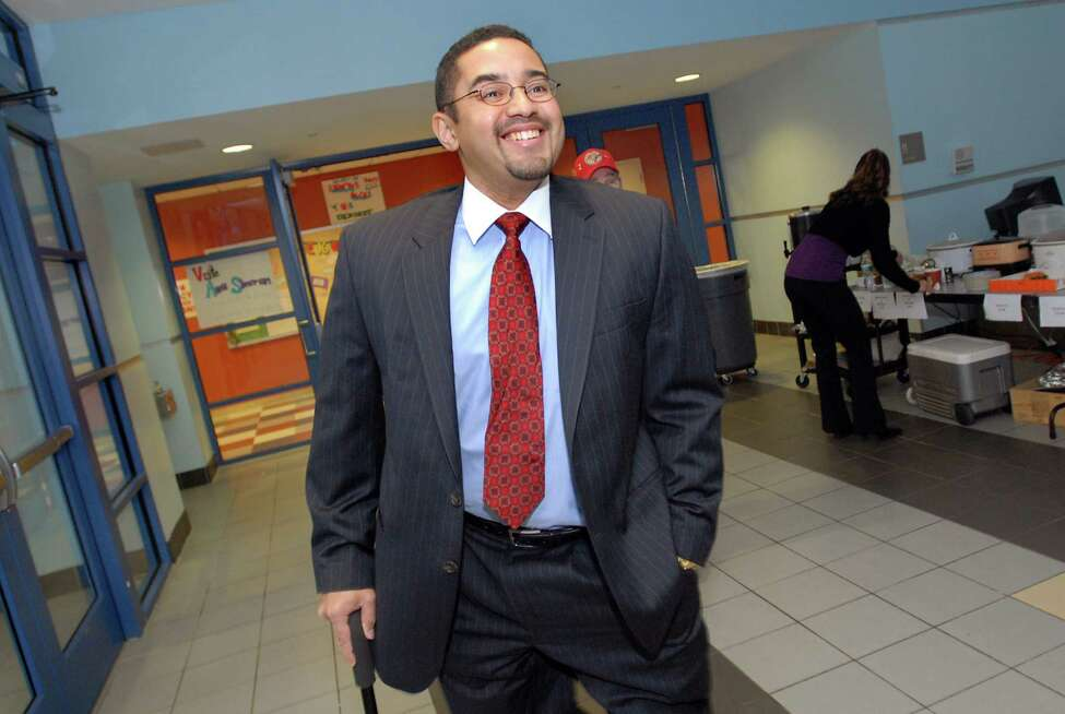 Mayoral candidate Nathan Lebron leaves the polling place after voting on Election Day on Tuesday, Nov. 3, 2009, at Myers Middle School in Albany, N.Y. (Cindy Schultz / Times Union archive)