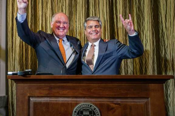 UT athletic director Michael Perrin, left, has been a skeptic of Big 12 expansion, while school president Greg Fenves wants UH to be strongly considered.