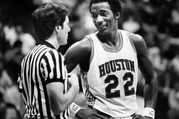 03/13/1983 - Houston Cougars Clyde Drexler (22) speaks to referee during SWC Tournament championship game against Texas Christian at Reunion Arena in Dallas.