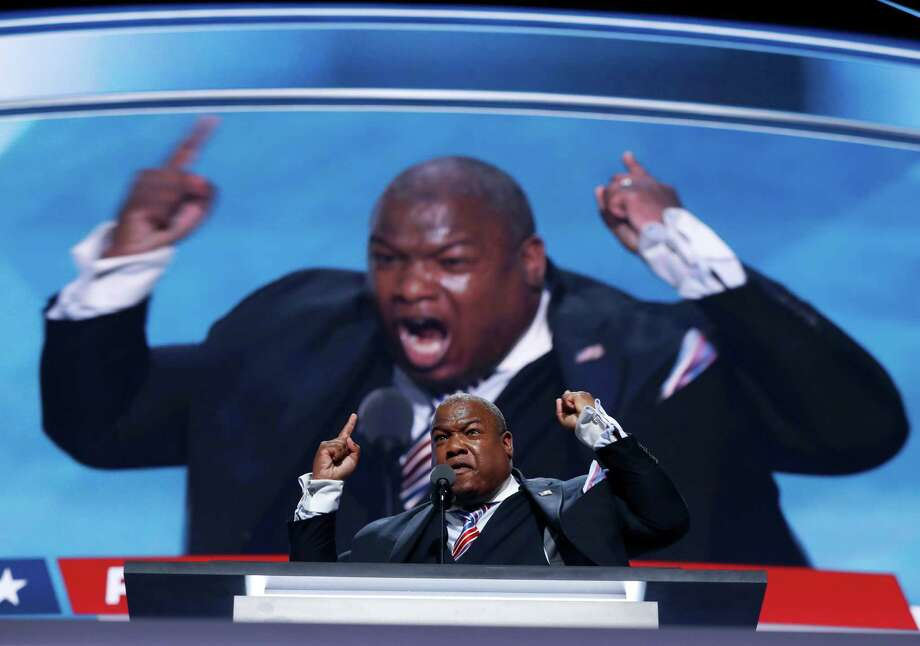 Pastor Mark Burns speaks during the final day of the Republican National Convention in Cleveland, Thursday, July 21, 2016. (AP Photo/Carolyn Kaster) ORG XMIT: RNC534 Photo: Carolyn Kaster / Copyright 2016 The Associated Press. All rights reserved. This m