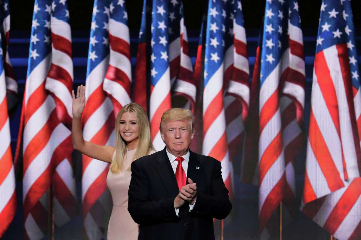 Ivanka Trump, daughter of Republican Presidential Nominee Donald J. Trump, waves as she walks off stage after introduction her father during the final day of the Republican National Convention in Cleveland, Thursday, July 21, 2016. (AP Photo/J. Scott Applewhite) ORG XMIT: RNC135
