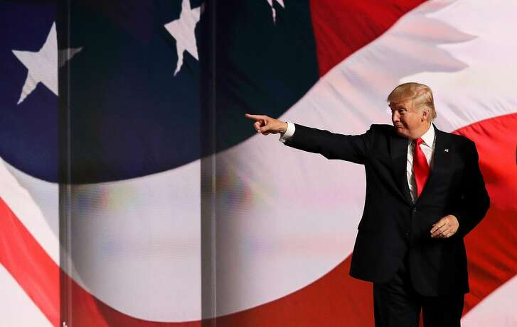 CLEVELAND, OH - JULY 21:  Republican presidential candidate Donald Trump acknowledges the crowd at the end of the Republican National Convention on July 21, 2016 at the Quicken Loans Arena in Cleveland, Ohio. Republican presidential candidate Donald Trump received the number of votes needed to secure the party's nomination. An estimated 50,000 people are expected in Cleveland, including hundreds of protesters and members of the media. The four-day Republican National Convention kicked off on July 18.  (Photo by Joe Raedle/Getty Images)