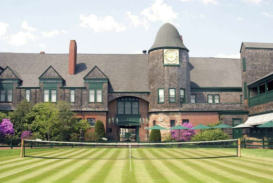A tennis court and exterior of one of the buildings in the International Tennis Hall of Fame (International Tennis Hall of Fame)