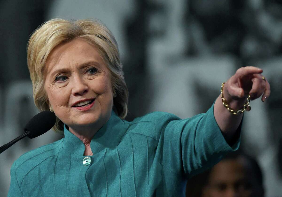 Democratic presidential candidate Hillary Clinton speaks at the American Federation of State, County and Municipal Employees 42nd International Convention at the Las Vegas Convention Center on July 19.
