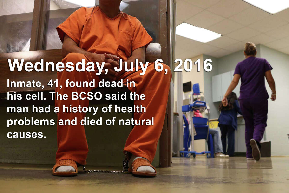 Photo: An inmate waits to be seen by medical personnel in the intake area of the Bexar County Jail, Monday, July 18, 2016. The inmate's evaluated for mental and physical health problems before being released into the jail population.