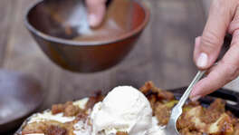 "Even desserts aren't exempt from smoking, such as this smoked bacon-bourbon apple crisp from ""Project Smoke."""