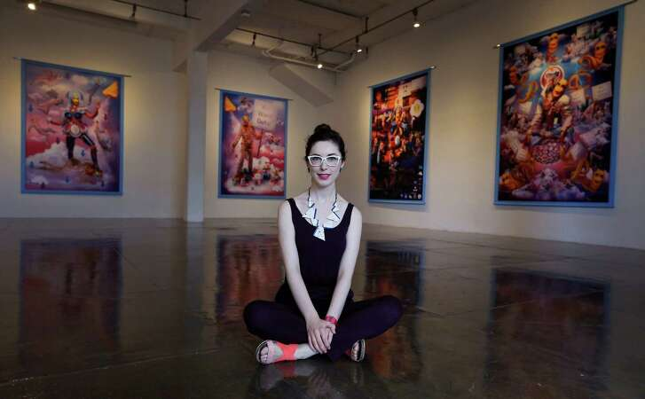 Scottish artist Rachel Mclean has created a series of large-scale digital prints on fabric in which she portrays a series of characters in a fantasy narrative exploring themes of data management and consumption. The works are on display at Artpace. (Kin Man Hui/San Antonio Express-News)