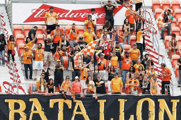 Houston Dynamo fans in the stands during the first half of an MLB soccer game at BBVA Compass Stadium, Sunday, May 15, 2016, in Houston.  ( Karen Warren  / Houston Chronicle )