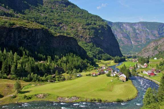 A view of the old village of Flam from the train