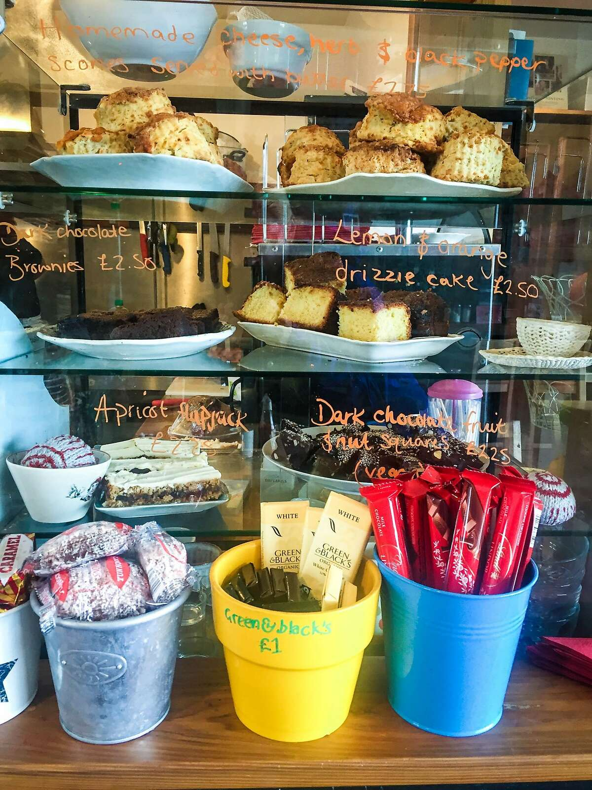 Baked good highlight the counter at the Knoydart Pottery and Tearoom.