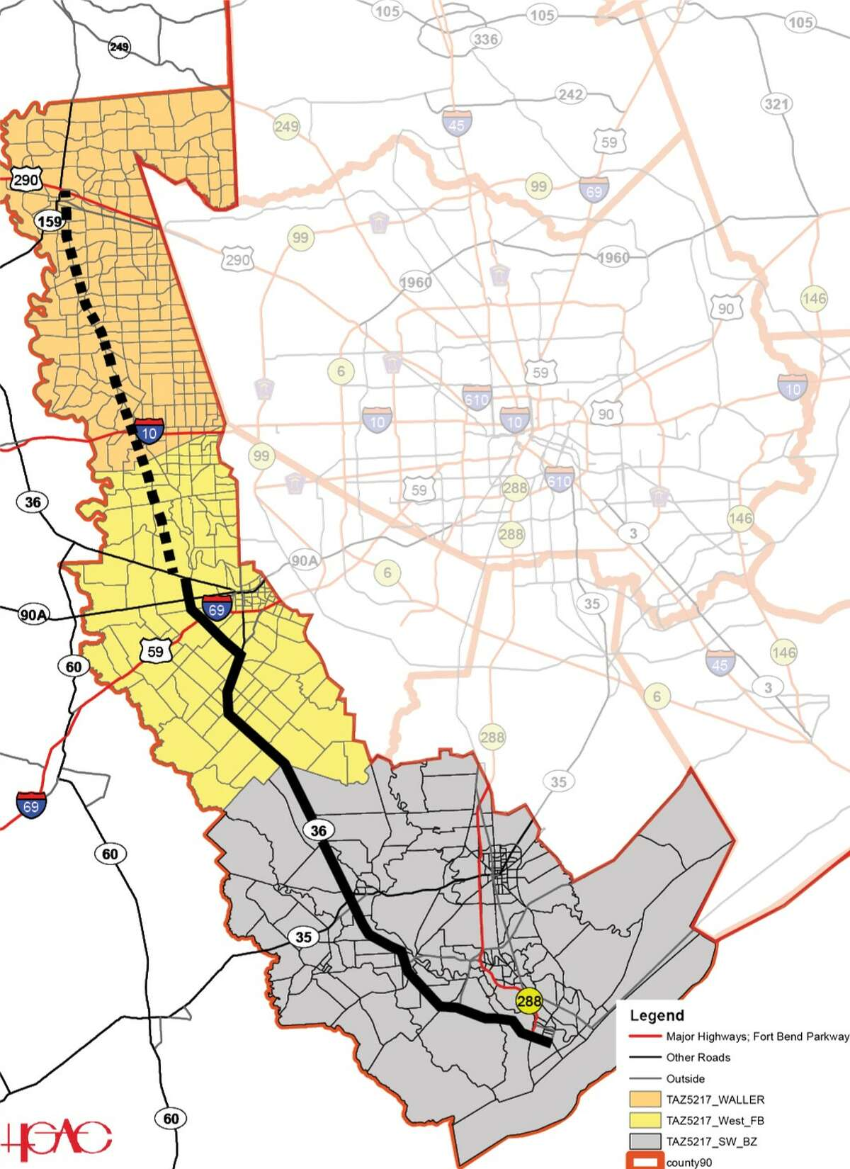 Officials in Fort Bend and Waller counties are pursuing a planned highway, deemed 36A, from Rosenberg to Hempstead.