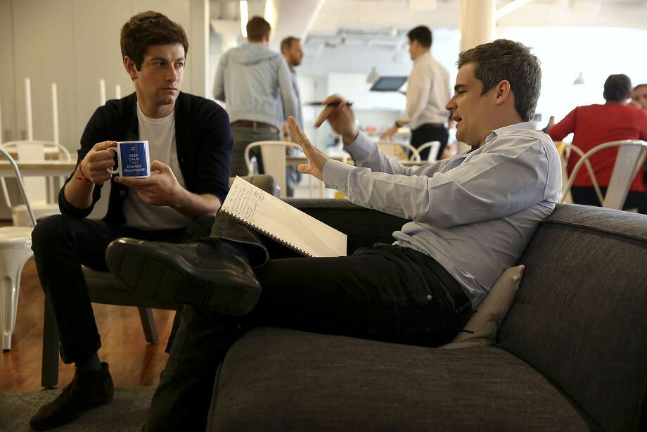 Oscar Health founders Joshua Kushner, left, and Mario Schlosser at the startup health insurer's offices in New York, May 23, 2016. Companies like Oscar were initially attracted by the potential of millions of new customers added to the individual market by the Affordable Car Act, but the reality has been far messier. (Richard Perry/The New York Times) Photo: RICHARD PERRY, NYT