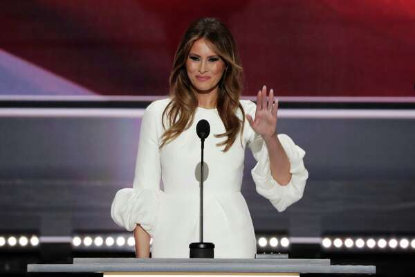 Melania Trump, wife of Republican presidential nominee Donald Trump, acknowledges the applause at Republican National Convention after she gave a speech that some say sounded familiar.