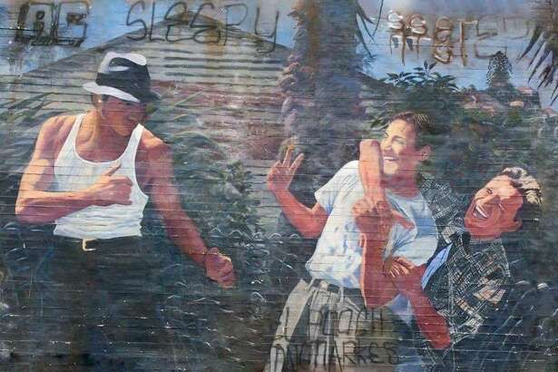 "A mural by San Antonio artist Adan Hernandez, made famous by the 1993 film, ""Blood In, Blood Out,"" a movie has become something of a cult favorite. Hernandez did the art work for the film."