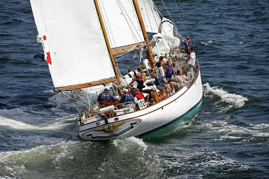 Ticonderoga, a 72-foot ketch, was designed in 1936 by yacht designer L. Francis Herreshoff, of Bristol, R.I., for automobile mogul Harry Noyes. Despite being built as a cruiser, she had a stellar ocean-racing record that rivaled the speed of Yankee clippers and finished first in 24 of her initial 36 races. She is still raced and cruised by owner Scott Frantz and can often be seen plying the waters of Long Island Sound. Photo: Greenwich Historical Society / Contributed Photo