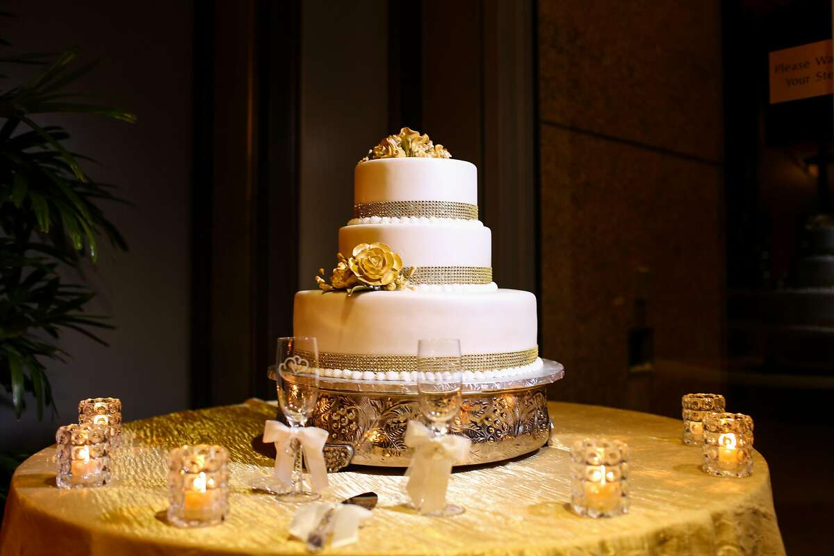 The couple's triple-tier wedding cake was from Haleh Pastry Shop in Campbell.