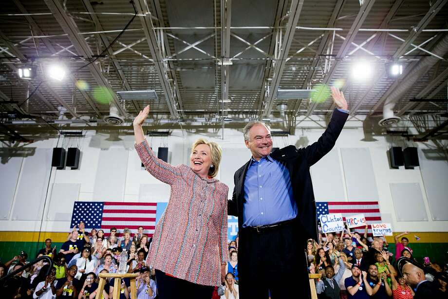 Hillary Clinton and her running mate, Sen. Tim Kaine, D-Va., campaign in Annandale, Va. Kaine was a finalist to be President Obama's running mate in 2008. Photo: Andrew Harnik, Associated Press