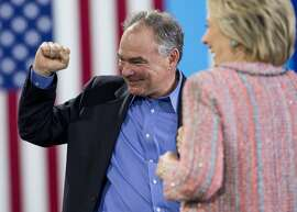 Tim Kaine and Hillary Clinton on the campaign trail in Virginia in July 2016