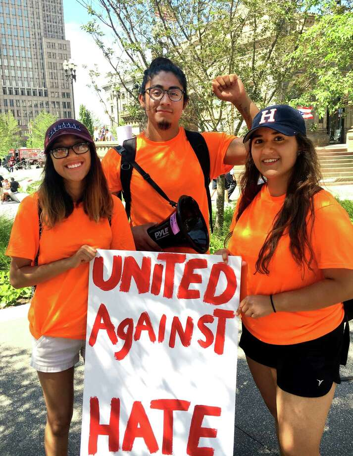Yenimar Corres, of New Haven; Eric Cruz Lopez, of Bridgeport; and Laura Veira, of Norwalk, are among the members of Connecticut Students for a Dream who protested at the Republican National Convention in Cleveland. Photo: Contributed Photo / Norwalk Hour contributed