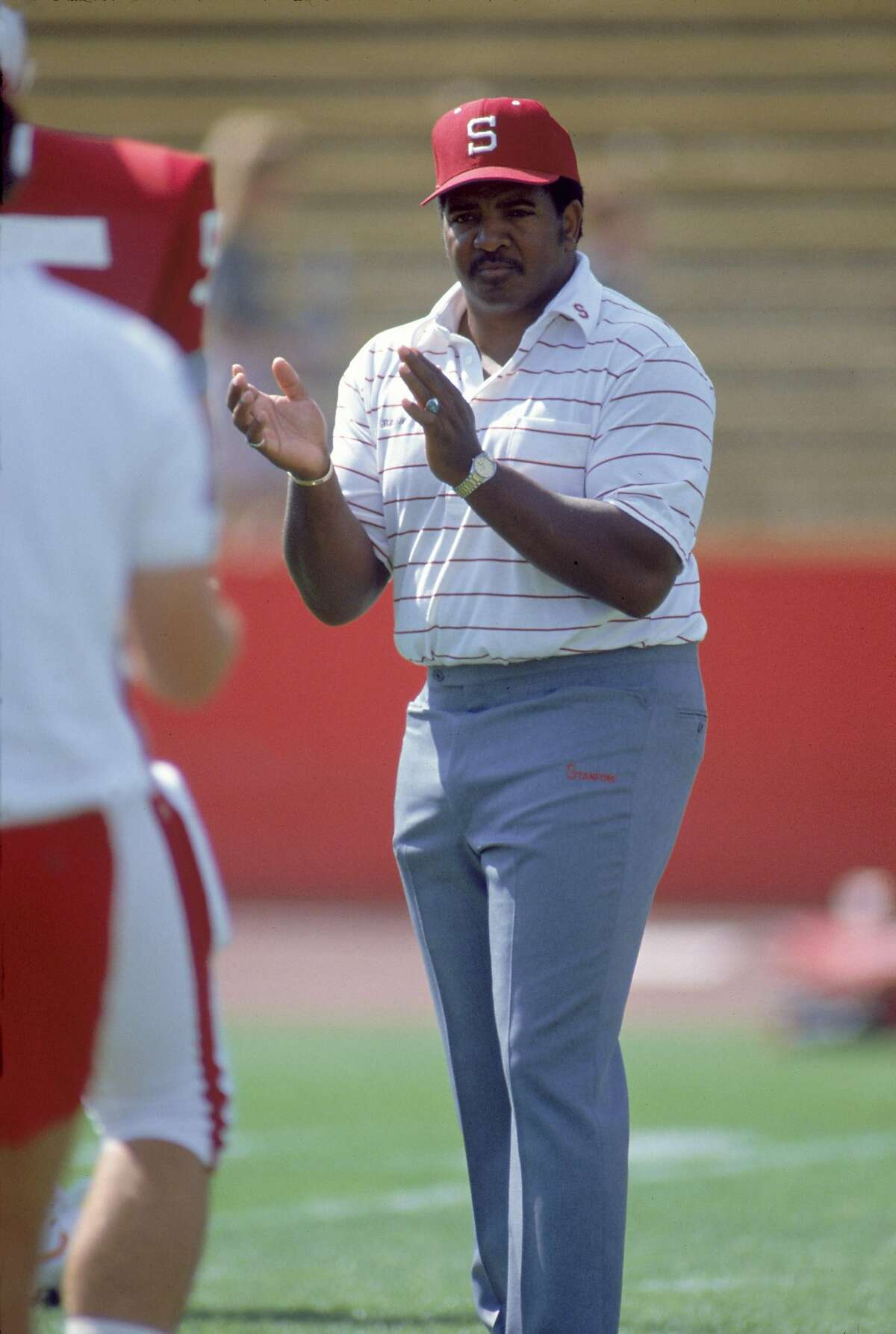 STANFORD, CA - OCTOBER 7: Head coach Dennis Green of the Stanford Cardinal looks on before the game against the Notre Dame Fighting Irish at Stanford Stadium on October 7, 1989 in Stanford, California. The Irish defeated the Cardinal 27-17. (Photo by Bernstein Associates/Getty Images)