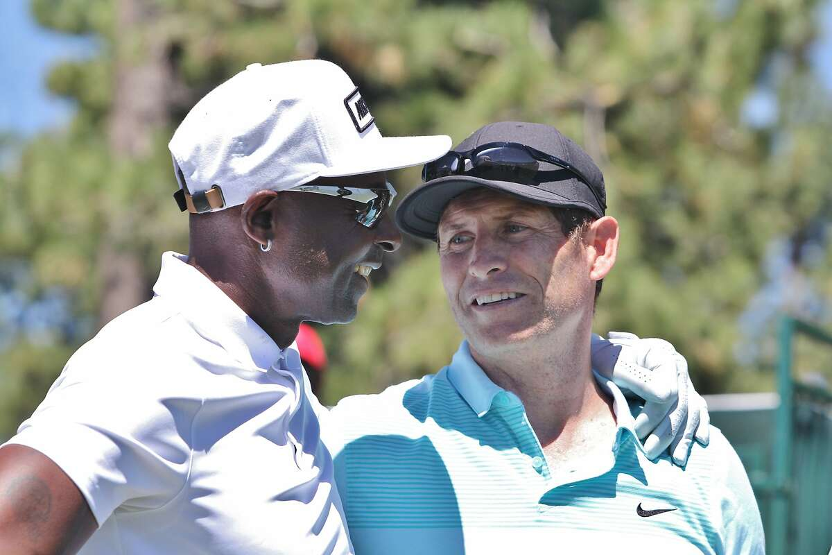 Jerry Rice and Steve Young at the Tahoe Celebrity Golf Tournament July 22, 2016