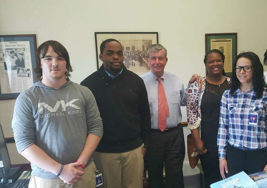 "Glenmont Job Corps Center student leaders Jerome Blackwell, Robert Kennedy, Destiny Fitzgerald and Aktasia Thompson visit state Sen. Neil Breslin at his office in the state Capitol on June 29. ""I enjoyed his presence and he gave me a lot of insight on how he became a senator. I've always been interested in politics but he gave me a better reason to get involved,"" Blackwell said. Glenmont Job Corps offers cost free education to economically disadvantaged students. To learn more, call 767-2293.(Submitted photo)"