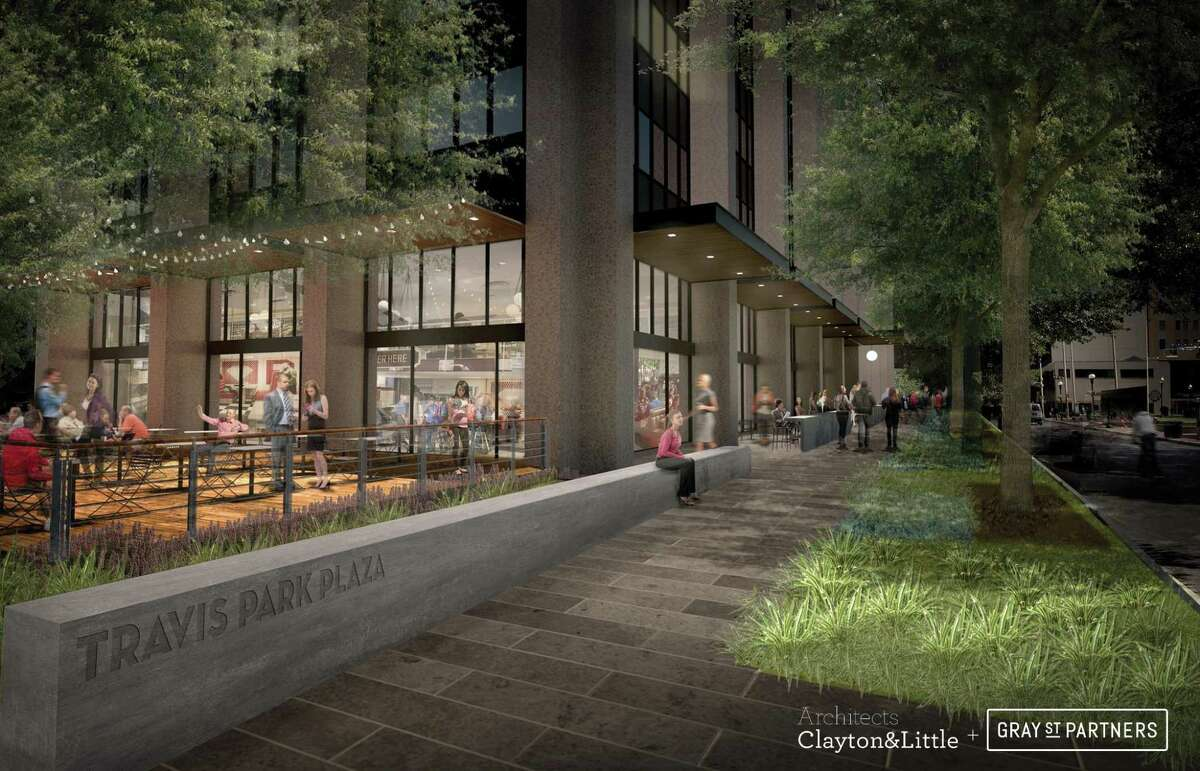 GrayStreet is transforming the aging Travis Park Plaza building into tech-oriented office space loaded with perks, such as a bicycle storage room, fiber internet and 18-hour retail, bolstering efforts to create a tech district around downtown's Houston Street.