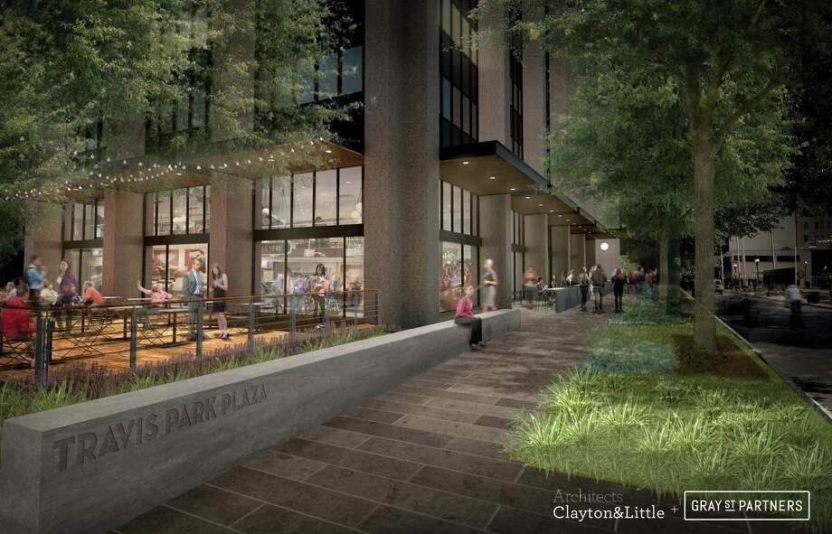 GrayStreet is transforming the aging Travis Park Plaza building into tech-oriented office space loaded with perks, such as a bicycle storage room, fiber internet and 18-hour retail, bolstering efforts to create a tech district around downtown's Houston Street. Photo: Courtesy GrayStreet Partners