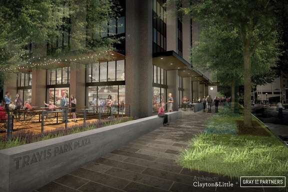 Local developer GrayStreet Partners plans to transform the aging Travis Park Plaza building into a tech hub loaded with perks such as a bicycle storage room and common lounges.