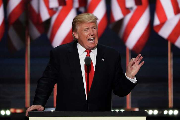 Republican presidential candidate Donald Trump accepts his party's nomination Thursday at the Republican National Convention in Cleveland.