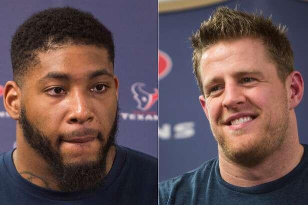 Split photo of Texans' Devon Still and J.J. Watt.