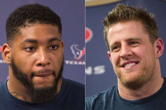 Split photo of Texans' Devon Still and J.J. Watt.