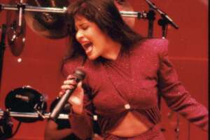 02/26/1995 - Tejano singer Selena performs at the Astrodome during the Houston Livestock Show and Rodeo.  Selena Quintanilla Perez.