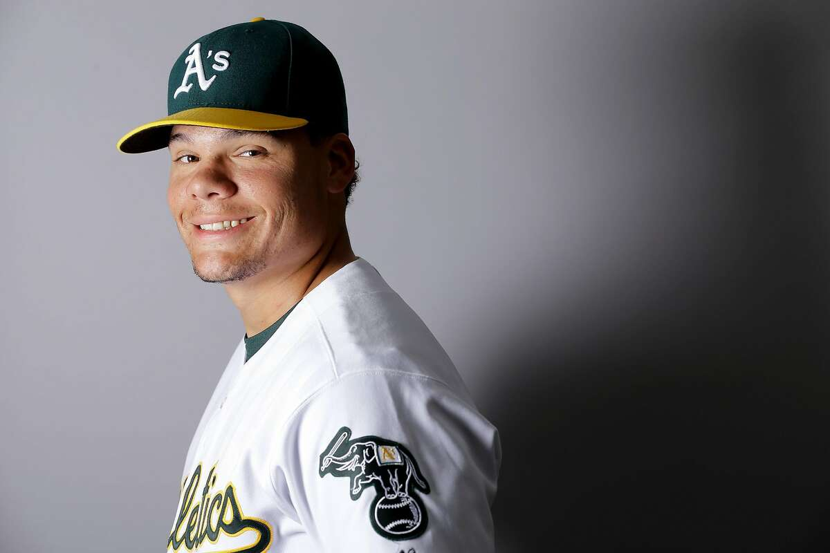This is a 2016 photo of Bruce Maxwell of the Oakland Athletics baseball team. This image reflects the Oakland Athletics active roster as of Monday, Feb. 29, 2016, when this image was taken. (AP Photo/Chris Carlson)