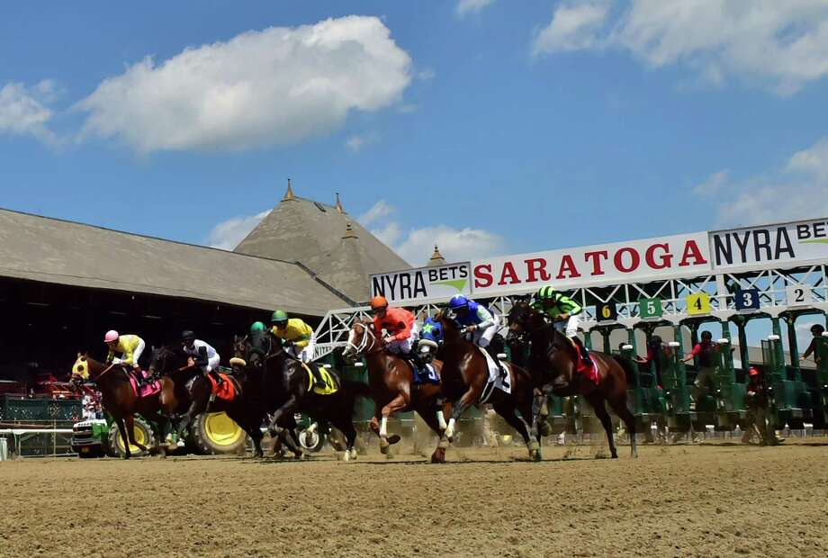#1 Clifton Pleasure with jockey Manuel Franco, far right, wins the first race of the first day of the 148th meeting of the Saratoga Race Course Friday July 22 2016 in Saratoga Springs, N.Y.   (Skip Dickstein/Times Union) Photo: SKIP DICKSTEIN