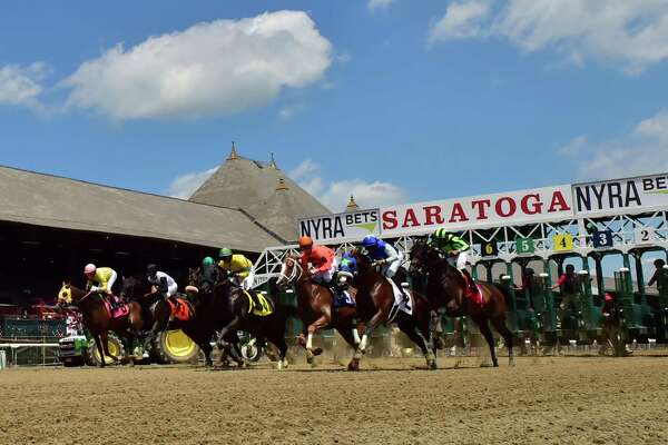 #1 Clifton Pleasure with jockey Manuel Franco, far right, wins the first race of the first day of the 148th meeting of the Saratoga Race Course Friday July 22 2016 in Saratoga Springs, N.Y.   (Skip Dickstein/Times Union)
