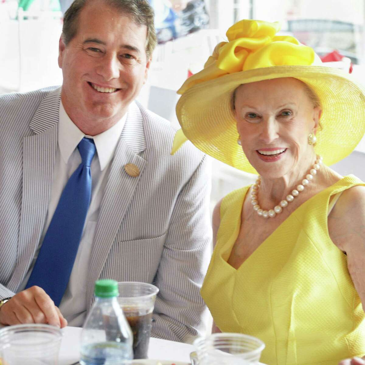 Marylou Whitney and husband John Hendrickson host their opening day luncheon at Saratoga Race Course Friday July 22, 2016 in Saratoga Springs, NY. (John Carl D'Annibale / Times Union)